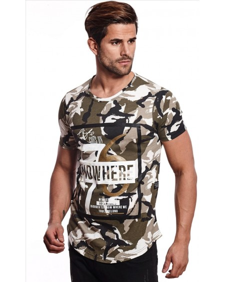 Tee shirt col rond large homme kaki camouflage tendance