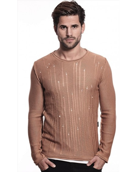 Pull d'été homme marron slim fit fashion