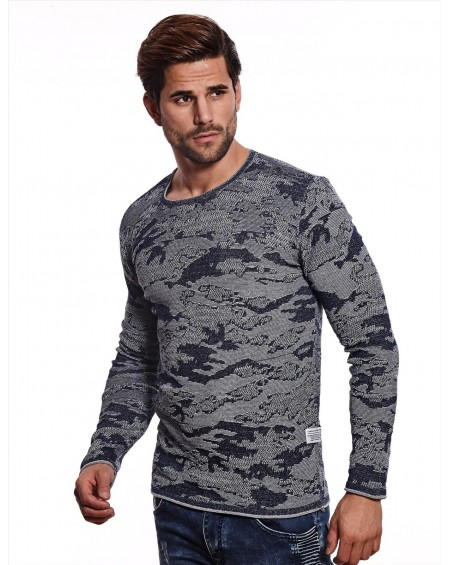 Pull camouflage homme marine bicolore classe