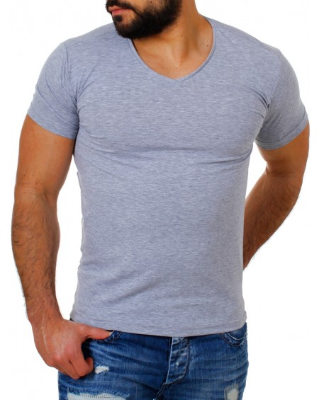 Tee shirt simple homme gris cintré à la mode
