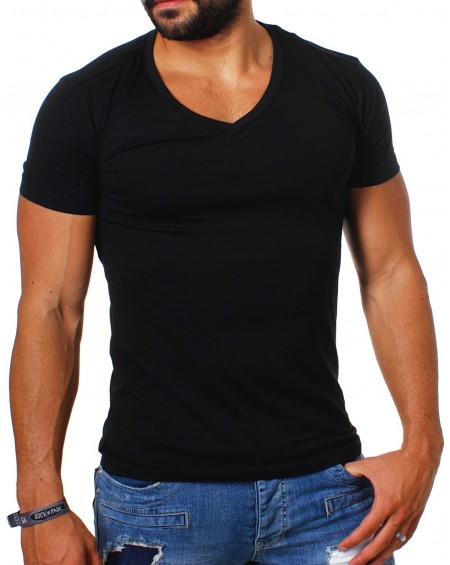 Tee shirt uni pas cher homme noir simple fashion