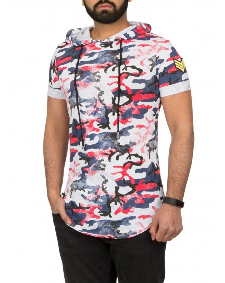 T-shirt multicolor homme rouge camouflage fashion