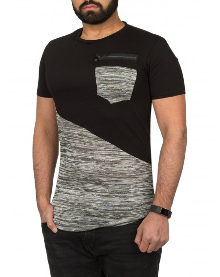 T-shirt long derriere homme noir poche chic