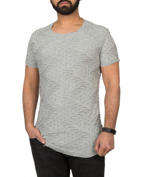 T-shirt troué homme gris long derriere stylé