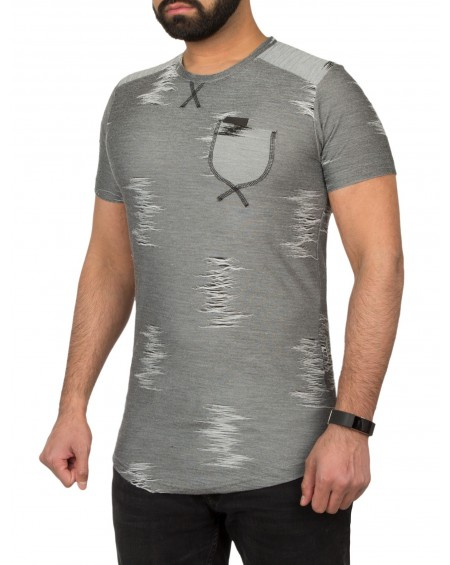 T-shirt cintré homme gris chiné poche fashion