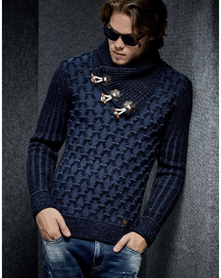 Pull hiver homme bleu col chale fashion
