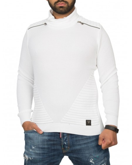 Pull uni homme blanc maille fine fashion