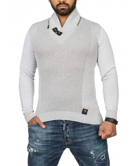 Pull slim homme gris hiver stylé