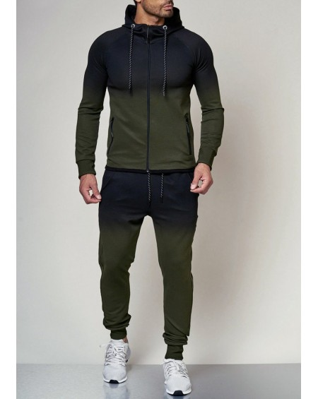 Ensemble jogging homme vert serré en bas fashion