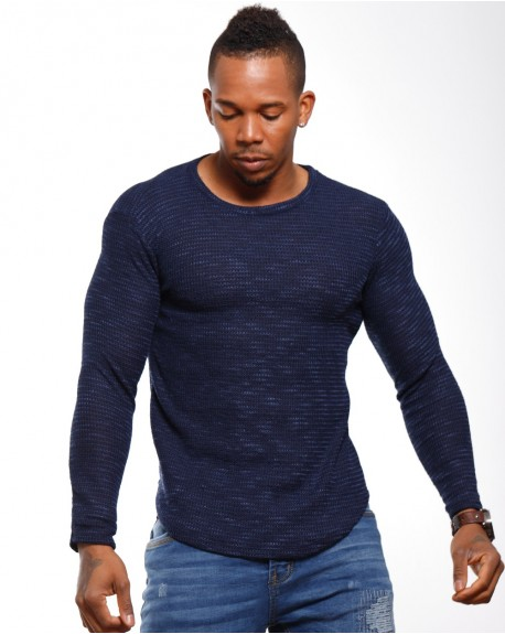 Pull léger homme marine col rond classe