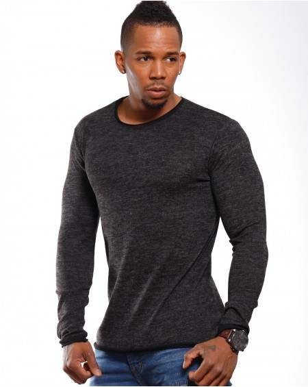 Pull chiné homme noir col rond stylé
