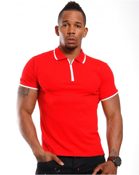 Polo moulant homme rouge manches courtes fashion