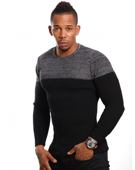 Pull slim fit homme noir col rond classe
