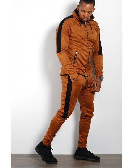 Ensemble de survetement homme marron suédine classe