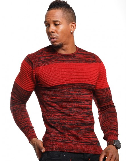 Pull chiné homme rouge bicolore fashion
