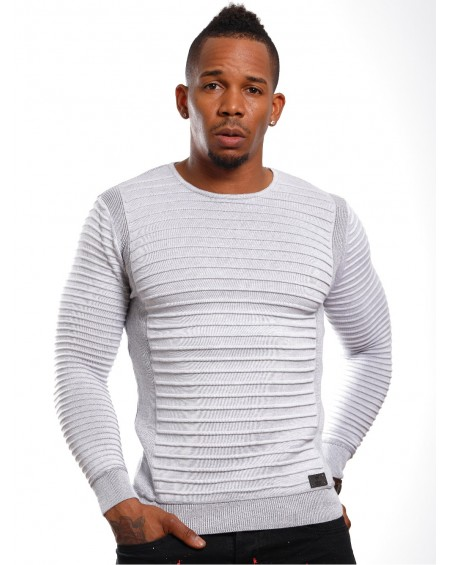 Pull stylé homme gris slim tendance