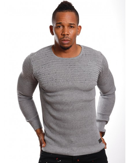 Pull fashion homme gris col rond chic