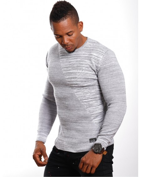 Pull slim fit homme gris col rond stylé