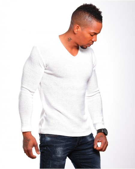 Pull classe homme blanc slim stylé