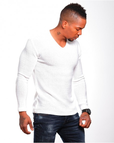 01950a7964e Solde Pull classe homme blanc slim stylé
