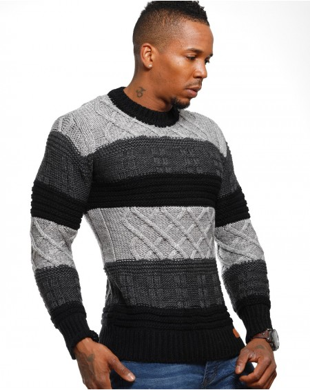 Pull rayé homme gris pas cher chic