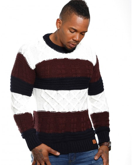 Pull bicolore homme marron discount classe