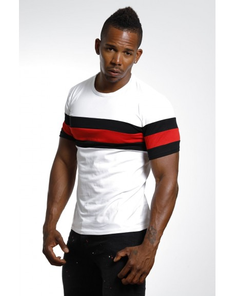e5c75778a4935 Solde T-shirt slim fit homme blanc col rond stylé